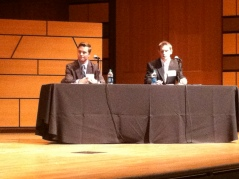 Student moderators asked expert panelists questions.